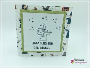 Einladungskarte Kindergeburtstag basteln Zauberer
