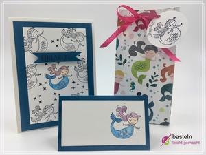 Einladungskarte Kindergeburtstag basteln Meerjungfrau