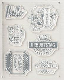 Stempelset Exquisite Etiketten für Karte Beste Wünsche