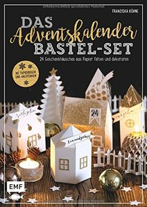 Adventskalender Buch Bastelset mit Papierbogen und Anleitung